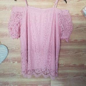 NoBo pink lace cold shoulder blouse